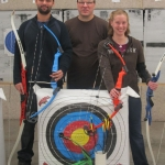 Winners of archery equipment with Dan Schroeder (middle)